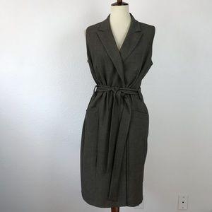 Calvin Klein Belted Pockets Lined Sheath Dress